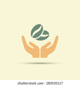 Two open hands holding coffee beans isolated vector colored icon