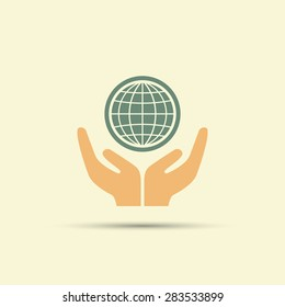 Two open hands holding globe isolated vector colored icon