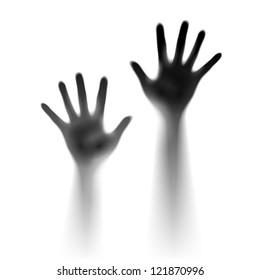 Two open hands in the mist. Illustration of designer