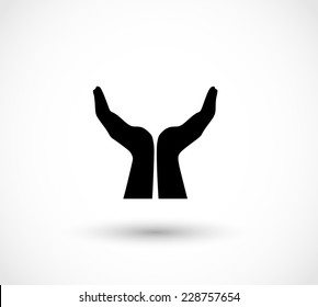 Two opened hands in a pray gesture vector