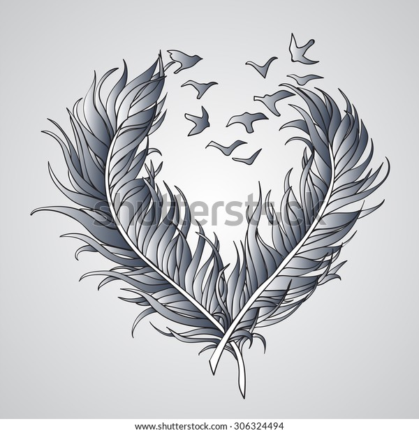 Two Openwork Birds Pluck Feather Form Stock Vector (Royalty