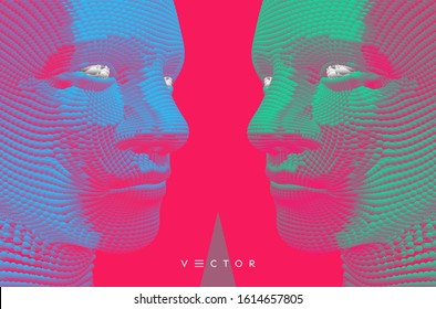 Two opponents facing each other. Conflict of interest. People talk face to face. The concept of rivalry. Vector Illustration for advertising, marketing or presentation.