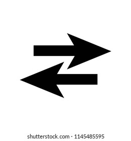 Two opposite arrows icon vector icon. Simple element illustration. Two opposite arrows symbol design. Can be used for web and mobile.