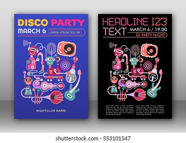 Two options of Disco Party poster layout, flyer design, size A4.