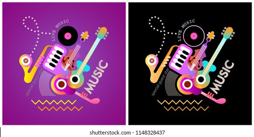 Two options of Music festival poster design. Vector illustration with musical instruments and text on a black and on a deep violet backgrounds.