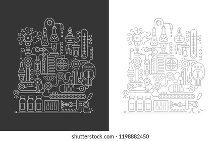 Two options of a research laboratory equipment vector line art illustration. Chemistry equipment designs isolated on a white and on a dark grey backgrounds.
