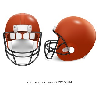Two orange football helmets - front and side view. Vector EPS10 illustration.
