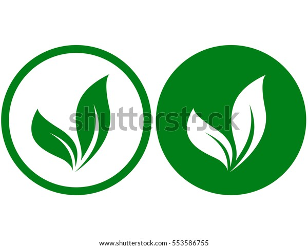 two organic icons with green leaves silhouettes