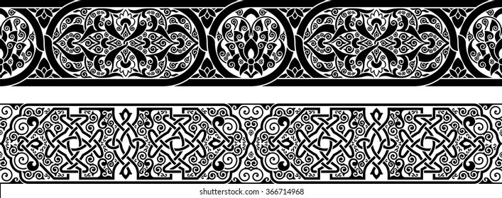two ornamental border for your design. Vector illustration black on the white background.