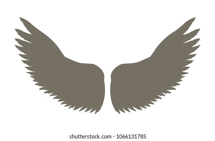 Two outspread large wings with long fluffy plume. Dark monochrome ink hand drawn logotype in art retro contour print style with space for text on light sky