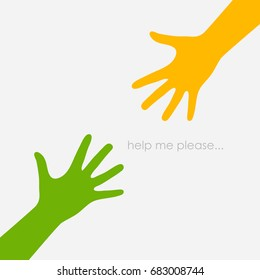 Two outstretched hands, help concept symbol