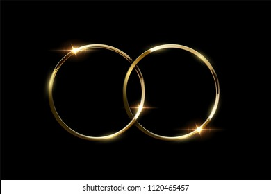 Two overlapping golden rings isolated on black background. Vector luxury design element.