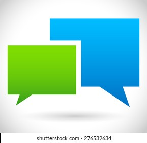Two overlapping speech, talk bubbles, communication, discussion, chatting. Vector