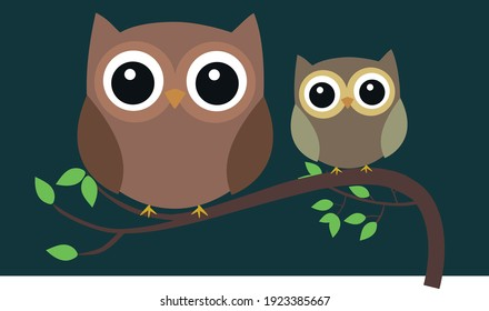 Two Owls at Night, Editable vector