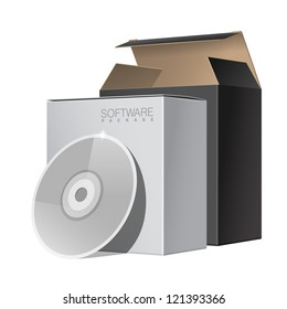 Two Package Box Opened with DVD Or CD Disk. For Software, electronic device and other products. Vector illustration