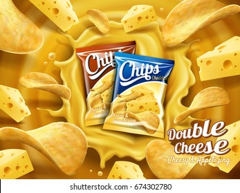 Double cheese potato chips ad, two packs of chips dropped into cheese sauce and there are chips and cheese floating in the air, 3d illustration
