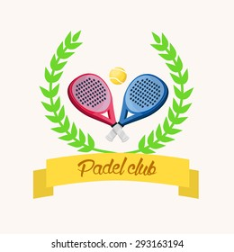 Two paddle tennis rackets. A blue and a pink. Banner with text in Spanish. padel club