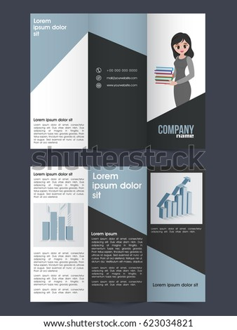 two page tri fold brochure template design stock vector royalty
