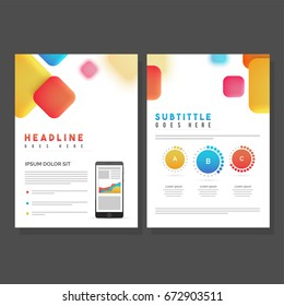 Two Pages, Brochure, Template design with colorful abstract squares for your business.