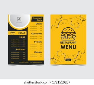 Two pages Modern Restaurant Menu flyer vector template in yellow , black color .