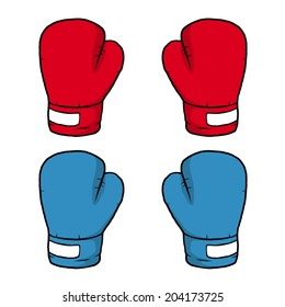 two pair of boxing gloves, red and blue / cartoon vector and illustration, hand drawn style, isolated on white background.