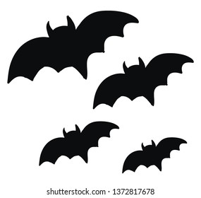 Two pairs of pitch black bats flying in the night sky vector color drawing or illustration