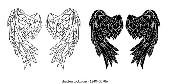 Two pairs of polygonal, contour, folded, black wings on white background.