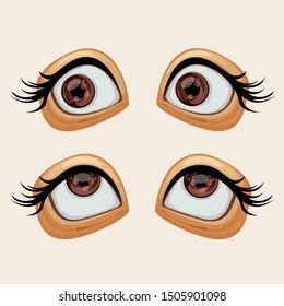 Two pairs of shocked brown eyes with black lashes look to the side