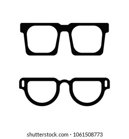 Two pairs of thick frame eye glass icons in vector format.