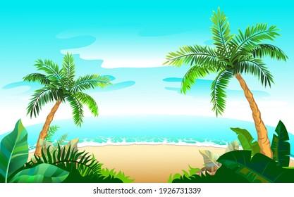 Two palm tree and sandy beach on blue sea. Paradise vacation on tropical island. Vector cartoon illustration