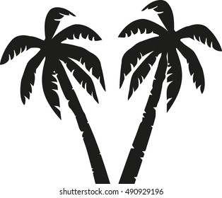Two palm trees icon