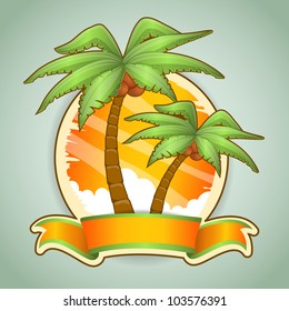 Two palm trees. Vector illustration