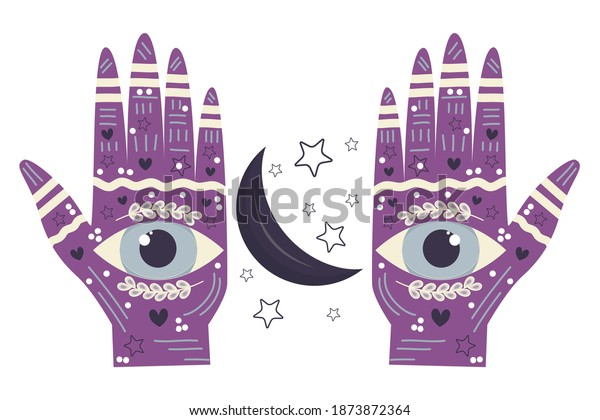 Two palms with eyes, palmistry and esotericism. Between the palms of the moon and the stars. Hands in symbols and drawings, K. Vector illustration isolated on a white background.