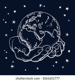 Two palms hold the globe. Earth in hands. Black night starry sky background.  Engraving gretro style. Esoteric, philosophic, environment concept. Vintage hand drawn sketch vector illustration isolated