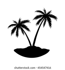 Two palms on island. Black coconut tree silhouette, isolated on white background. Symbol of tropical nature, beach, summer holiday, travel. Floral exotic landscape. Natural design. Vector illustration