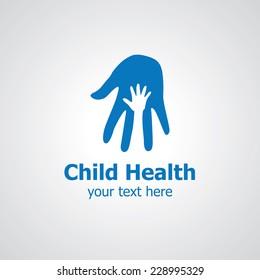 Two palms vector logo design, icon idea for child clinic brand