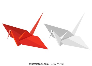 Two paper cranes on a white background