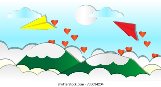 Two paper plane flying to scattering Red Heart Shape above high green mountains view with white sun clouds sky background, vector art and illustration concept.