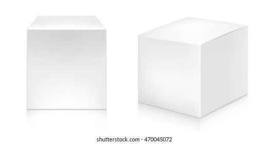 Two paper white boxes mock-up template. Good for packaging design. Vector illustration.