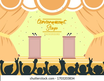 Two Parliament podium with stage. Two Politician podium with yellow background. Flat Vector Illustration. Yellow Design Background. Web vector illustration. Vector Background.