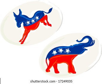 Two party stickers for the upcoming elections.