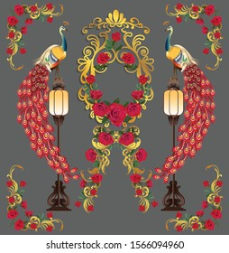 Two peacocks standing on the lamp and red roses with gold frame - vector illustration