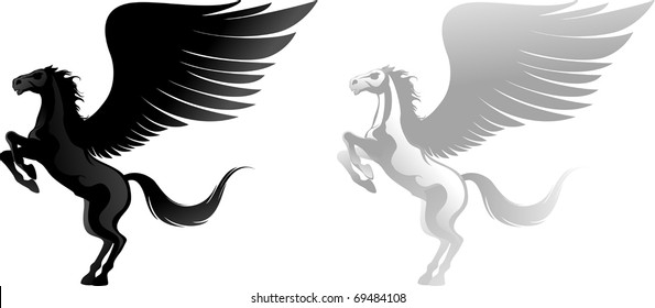 Two pegasus, black and white. Vector illustration can be scale to any size.