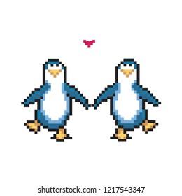 Two penguins in love. Cute pixel penguins. 8 bit vector illustration. Winter animals
