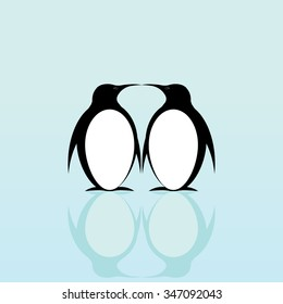 Two penguins on a blue background with reflection