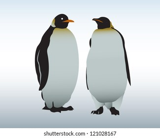 Two penguins stand on snow. The Antarctica