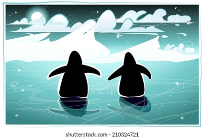 Two penguins walking in the night on frozen water towards an iceberg, EPS 10
