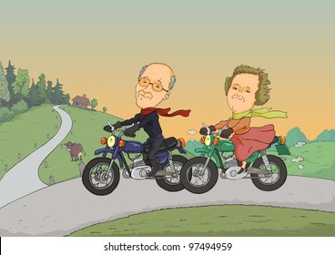 Two pensioners traveling on motorcycles on a rural road
