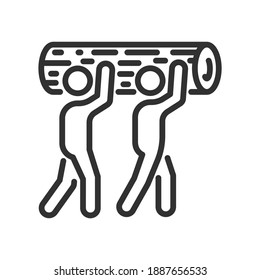 Two people carry a log, linear icon. Line with editable stroke