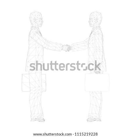 Two People Cases Shake Hands 3 D Stock Vector Royalty Free
